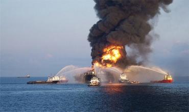 Пожар в море