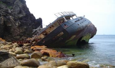 Крушение корабля с видом от первого лица