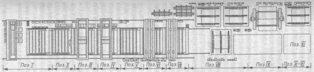 Позиции линий изготовления бортовых секций