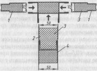 Сечение соеденения панелей Т-образной переборки