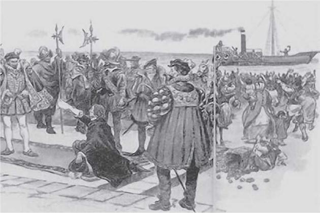 Бласко де Гарай демонстрирует королю свое изобретение