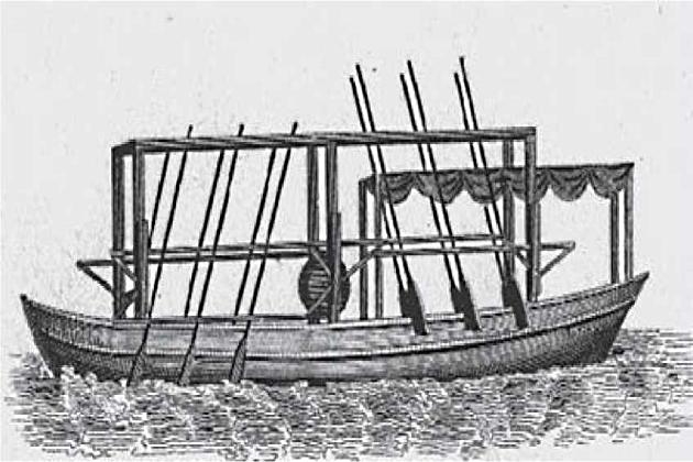 Первый пароход Джона Фитча, приводимый в движение веслами