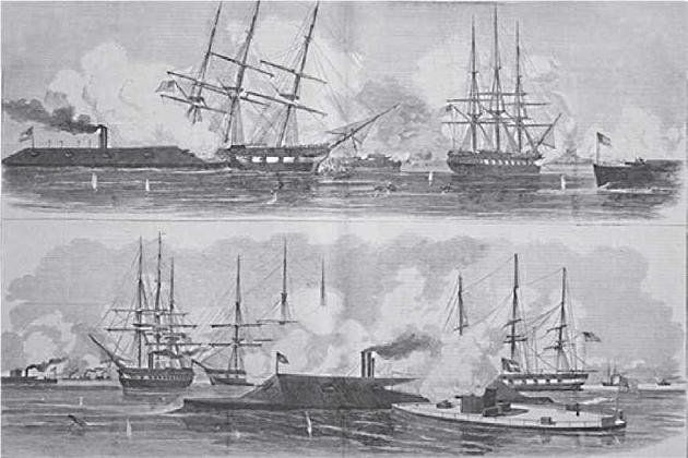Сражение между пароходами «Монитор» и «Мерримэг»