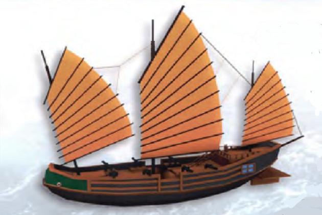Иллюстрация китайской морской джонки, вооруженной пушками европейского образца