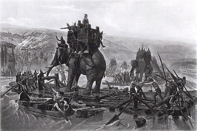 Знаменитая ксилография «Переправа Ганнибала через Рону» Генри Мотта, 1878 г.