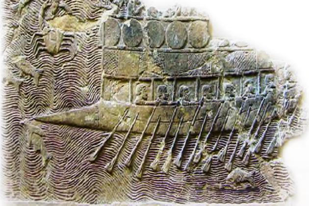 Ассирийский барельеф 700 г до н.э. из царского дворца в Ниневии, изображающий типичный финикийский пиратский корабль - бирему