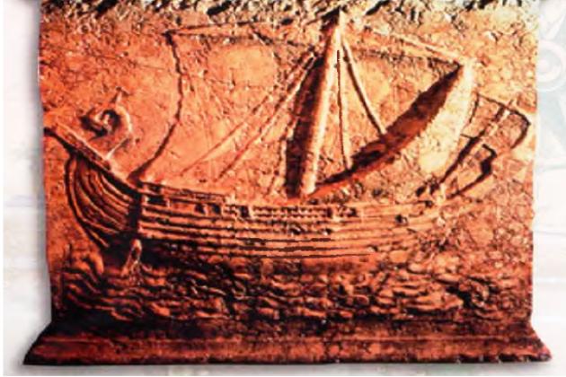 Древнее изображение финикийского торгового корабля