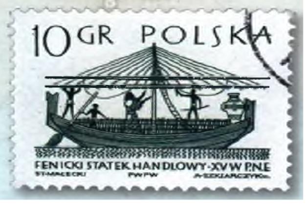 Финикийское торговое судно на польской марке 1963 г.