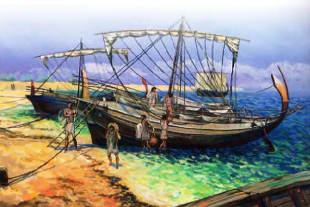Греческий торговый парусник VI - IV вв. до н.э. Длина судна - около 14,3 м, ширина - 4,3 м.
