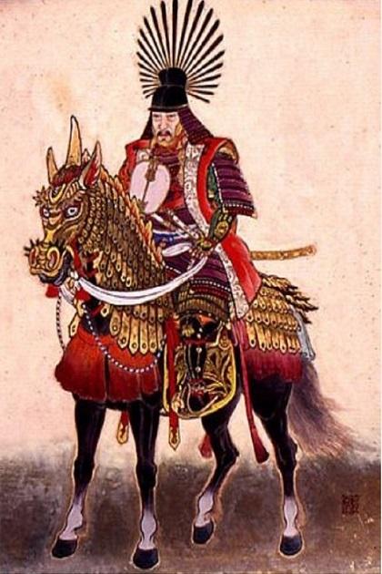 Знаменитый объединитель Японии и неудавшийся завоеватель Кореи Тоётоми Хидэёси в полном самурайском облачении