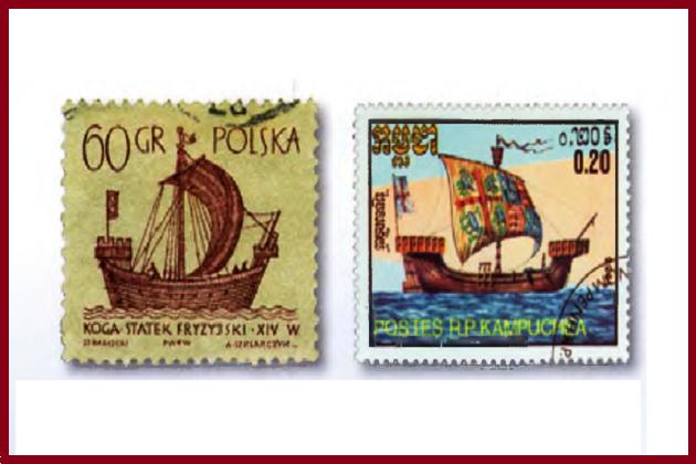 На почтовых марках Польши и Кампучии представлены региональные особенности коггов. Слева - типичный североевропейский, в основном торговый, справа - средиземноморский, военный