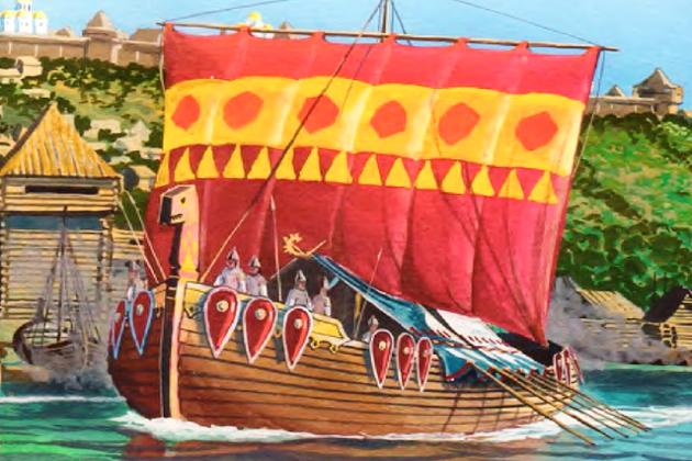 Славянские ладьи у стен древнерусского города