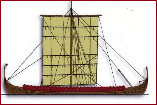 Современное изображение драккара. Пропорции корабля практически идеальны