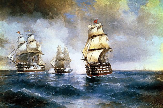 Бой брига «Меркурий» с двумя турецкими кораблями 1829 г. А. К. Айвазовский. 1892 г.