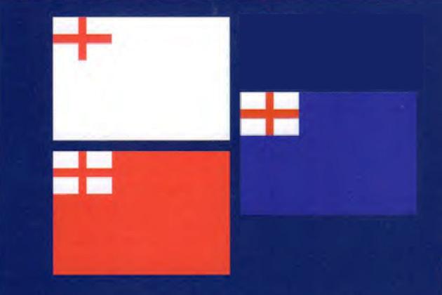 Британские белый, красный и синий флаги эскадр, существовавших с 1620 по 1707 г.