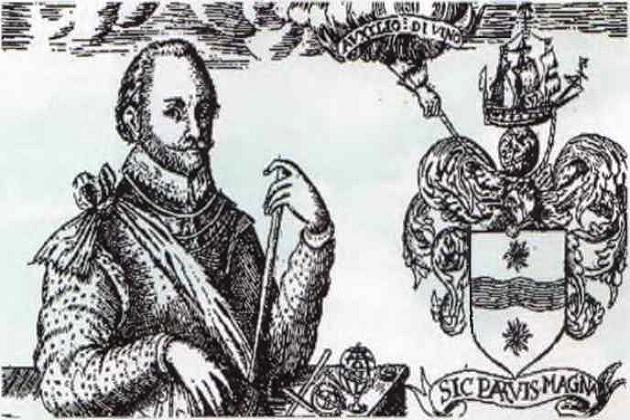 Фрэнсис Дрейк на фоне своего герба, девиз на котором гласит: «Большие вещи из малых складываются»
