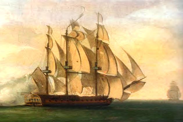 Французский 32-пушечный фрегат «Сибиль» 2 января 1783 г.