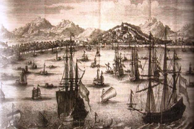 Голландские корабли в Малакке. Гравюра по меди. 1676 г.
