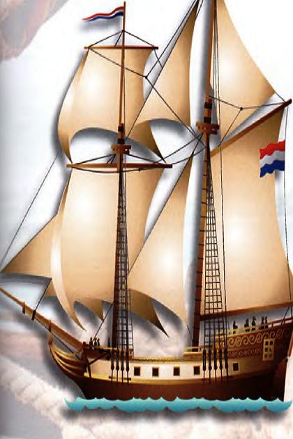 Современный рисунок голландской 10-пушечной бригантины XVIII в.