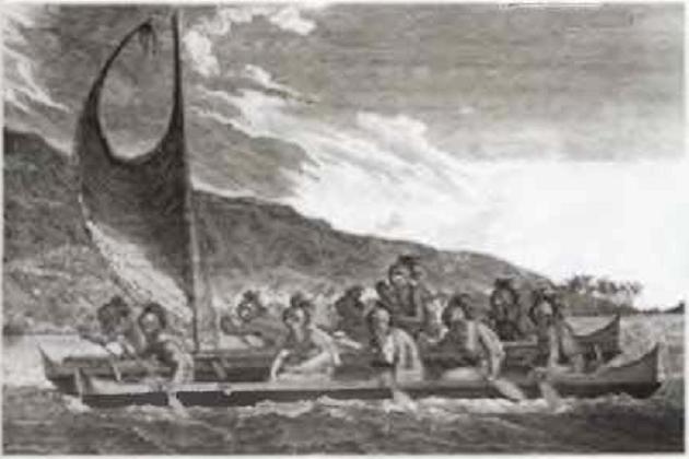 Изначальный вариант катамарана, типичного для Гавайев. 1781 г.