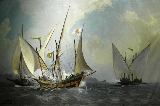 На полотне испанского мариниста Антонио Барцело 1738 г. изображены три самых распространенных средиземноморских корабля XVI—XVIII вв. - галера, галеас и шебека