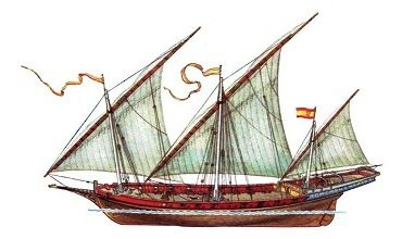 Коч и шебека, корабли с парусами новгородцев и поморов