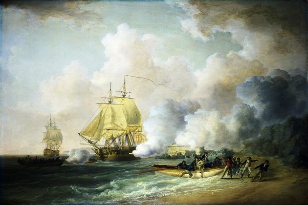 Британский 64-пушечный линейный корабль «Азия» постройки 1797 г. в гавани канадского порта Галифакс. Во время сражения у Сен-Луи, 1794 г.