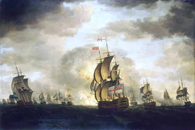 90-пушечный линейный корабль 2-го ранга английского флота «Сендвич» во времена сражения у мыса Сент-Винсент, 16 января 1780 г.