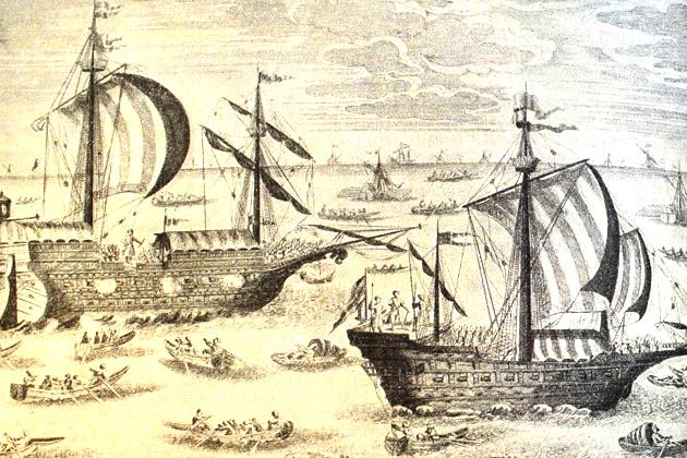 Корабли Азовского флота в период Керченского похода 1699 г. На переднем плане, по всей видимости, 24-пушечный фрегат