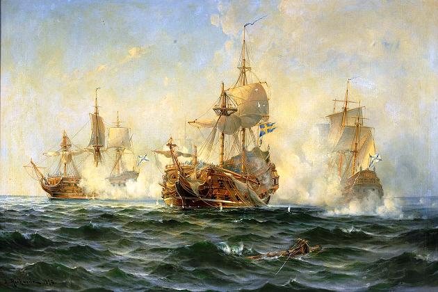 Линкор «Вахмейстер» сражается против русской эскадры. Людвиг Рихард. 1719 г.
