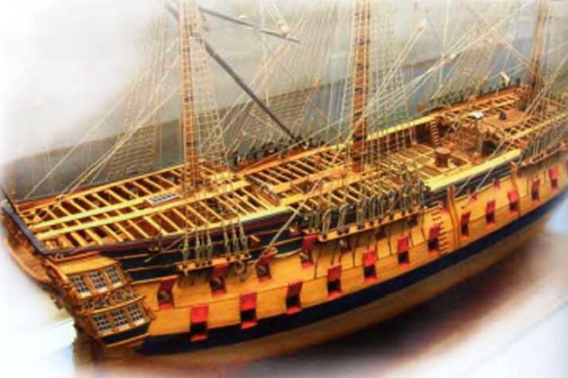 Модель стандартного британского 74-пушечного линейного корабля образца 1760 г.