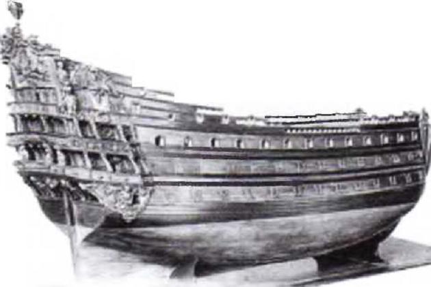 Модель образцового французского 104-пушечного линейного корабля «Солей Ройяль» 1670 г. постройки, ставшего образцом для целого поколения аналогичных боевых парусников