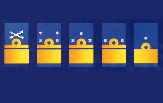 Современные нарукавные знаки различия высшего командного постава военно-морских сил Нидерландов слева направо: адмирал флота, лейтенант-адмирал, вице-адмирал, шаубенахт, командор