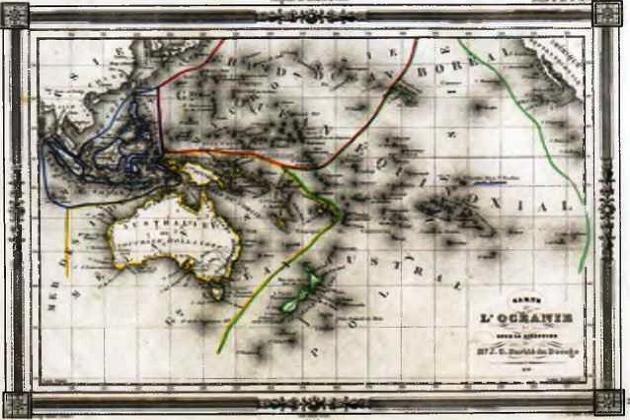 Основные островные группы бассейна Тихого океана - Океании: Меланезия, Микронезия и Полинезия на карте 1846 г.