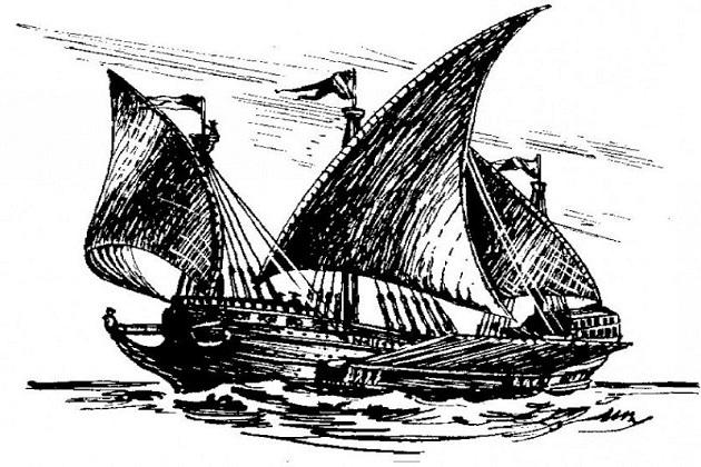 Парусное вооружение галеаса было сложным и разнообразным