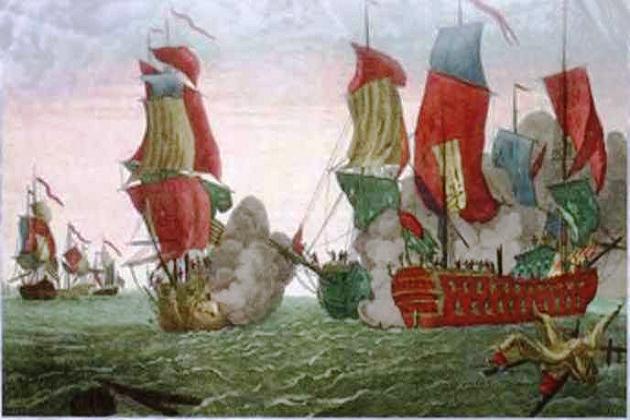 Первый морской бой военно-морского флота США: фрегат «Бон Ришар» под командованием Джона Поля Джонса против британского 44-пушечного корабля «Серапис». 23 сентября 1779 г. Гравюра по мотивам картины Ричарг: Патона (1780 г.)