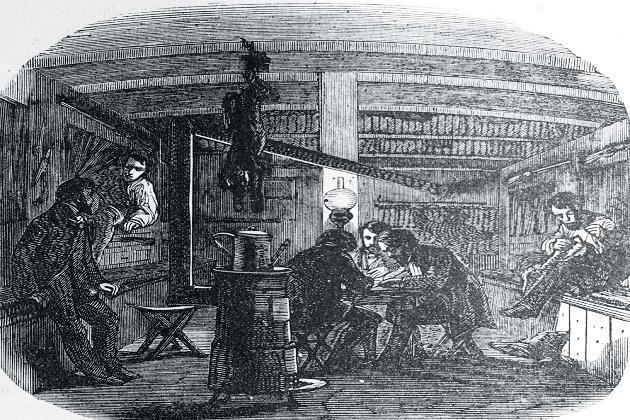 Рабочая каюта типичного торгового брига. 1840 г.