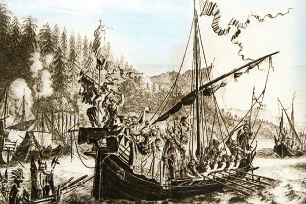 Стенька Разин бросает персидскую царевну в Волгу. Гравюра из книги, опубликованной в Амстердаме, 1681 г.