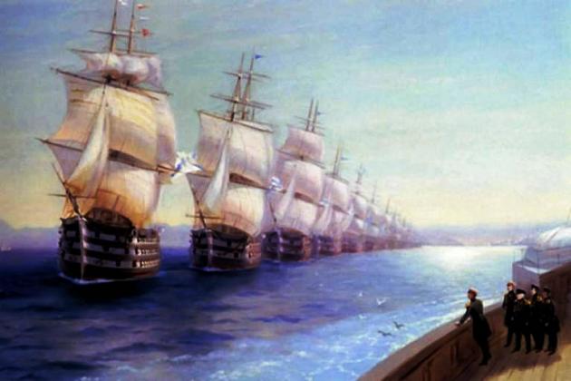 Смотр Черноморского флота в 1849 г. И. К. Айвазовский