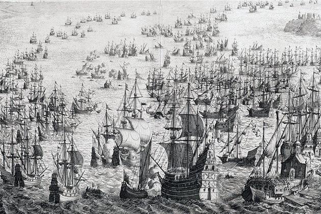 Сражение английских кораблей с испанской Непобедимой армадой