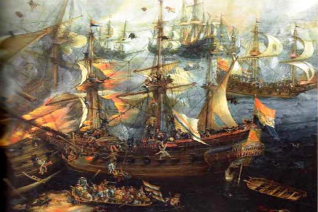 Сражение нидерландских и испанских галеонов в Гибралтарской бухте, 25 апреля 1607 г. Полотно голландского художника-мариниста Корнелиуса Класа ванн Вирингена. 1625 г.