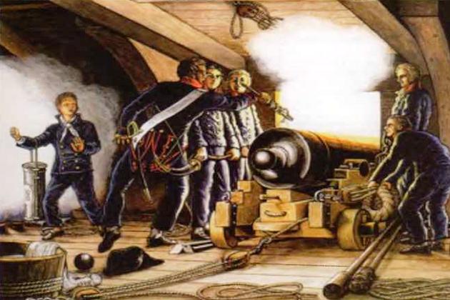 Стрельба из французского 18-фунтового корабельного орудия. Начало XIX в.