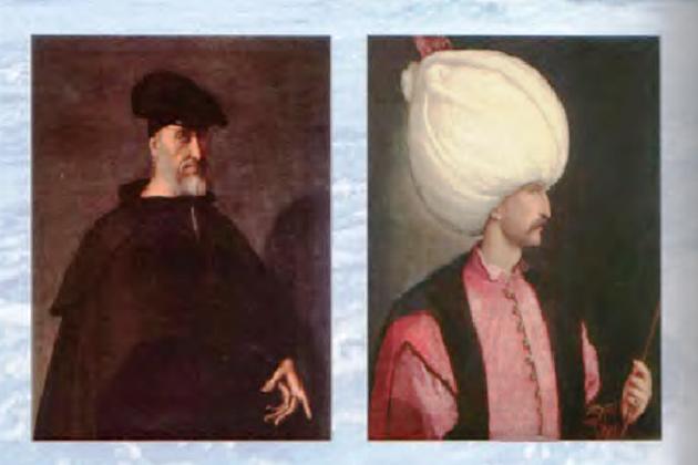 Покровитель и главный противник Хайр-ад-Дина Барбароссы - великий турецкий султан Сулейман Великолепный (справа) и великий итальянский флотоводец Андреа Дориа (слева)