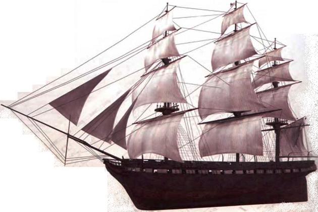Типичный фрегат первой половины XIX в.