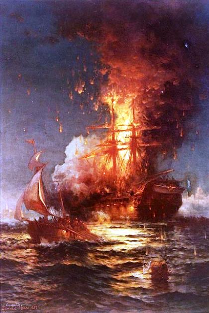 Уничтожение фрегата «Филадельфия» в гавани Триполи добровольцами С. Дикейтора 4 февраля 1804 г.