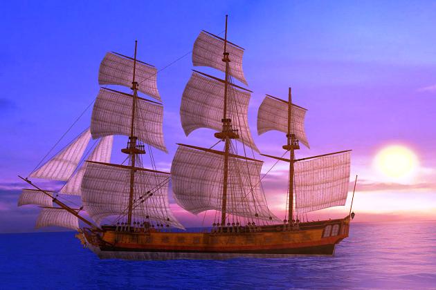 Условное изображение корабля бретонских пиратов - прототипа как французских, так и английских фрегатов