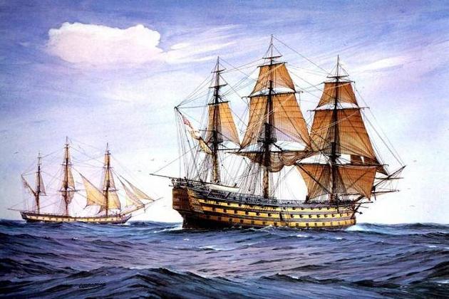 Единственный сохранившийся на сегодня парусный линейный корабль - британский 100-пушечный «Виктори» постройки 1765 г.