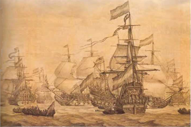 Линейные корабли военно-морского флота Нидерландов в море в 1672 г.Виллем ван де Вельде-ст.