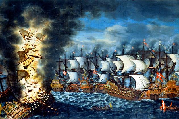 Взрыв «Кронана» во время Эландской битвы 1 июня 1676 г.