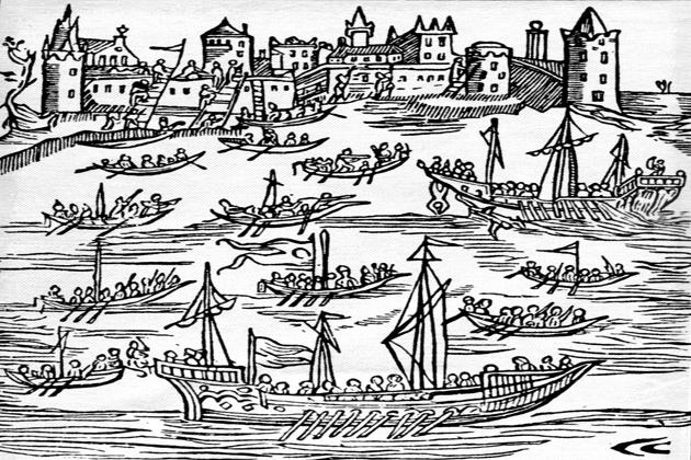 Запорожцы на чайках атакуют Турецкий флот и штурмуют Кафу. Рисунок XVII в.